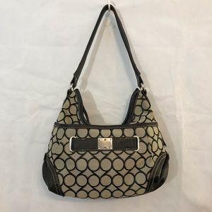 Nine West Hobo Handbag Brown Tan Silver